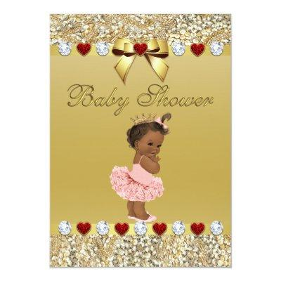 Ethnic Princess Gold Faux Sequins and Bow Invitation