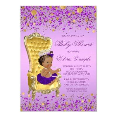 Ethnic Princess Lavender Gold Baby Shower Invitation