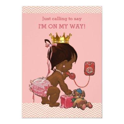 Ethnic Princess on Phone Baby Shower Chevrons Invitations