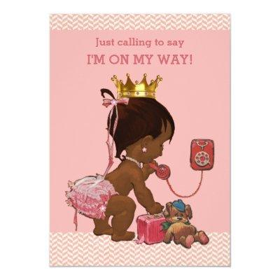 Ethnic Princess on Phone Baby Shower Chevrons Invitations