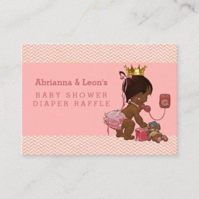 Ethnic Princess on Phone Chevrons Diaper Raffle Enclosure Card