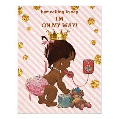 Ethnic Princess On Phone Gold Confetti Baby Shower Invitation