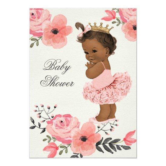 19770c30b Ethnic Princess Tutu Floral Watercolor Baby Shower Card | Baby ...