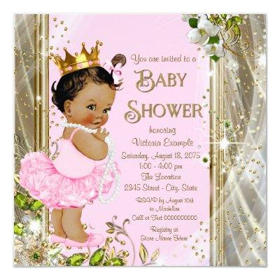 Ethnic Princess Tutu Pink Gold Invitations