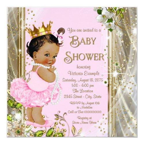Ethnic Princess Tutu Pink Gold Baby Shower Invitations