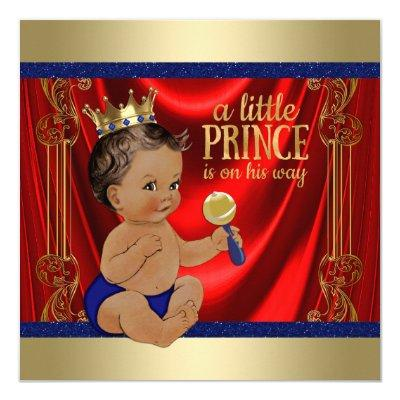 Ethnic Royal Blue Gold Prince Baby Shower Invitations