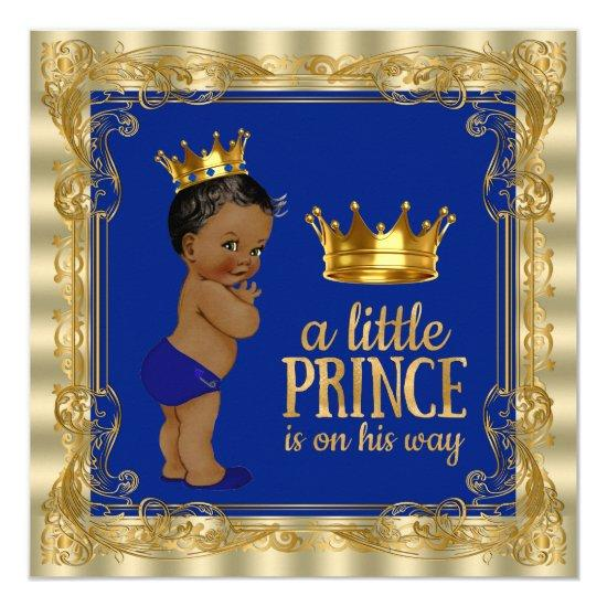 Ethnic Royal Blue Gold Royal Prince Baby Shower Invitations