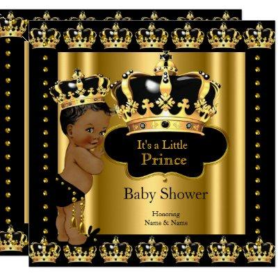 Ethnic Royal Prince Baby Shower Black Gold Crown Invitations