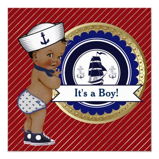 Ethnic Sailor Boy Nautical Baby Shower Card