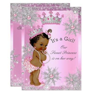 Ethnic Sweet Princess Baby Shower Wonderland Pink Invitations