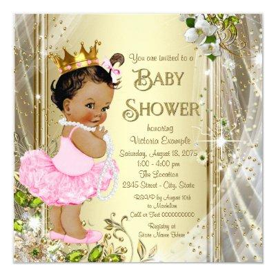 Ethnic Tutu Princess Pink Gold Baby Shower Invitation