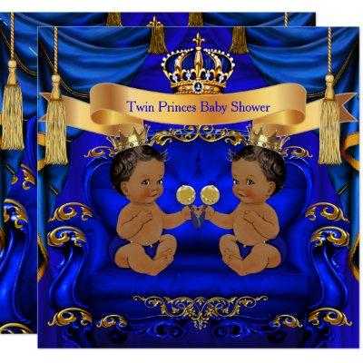 Ethnic Twin Baby Shower Boy Prince Blue Gold Invitation
