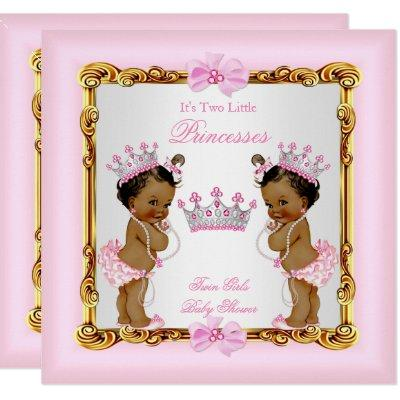 Ethnic Twin Girls Princess Baby Shower Gold Pink Invitations