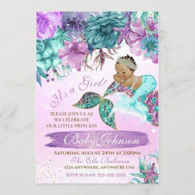 Ethnic vintage mermaid baby under the sea shower invitation