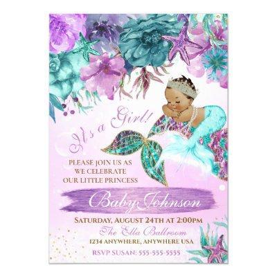 Ethnic vintage mermaid baby under the sea shower invitation