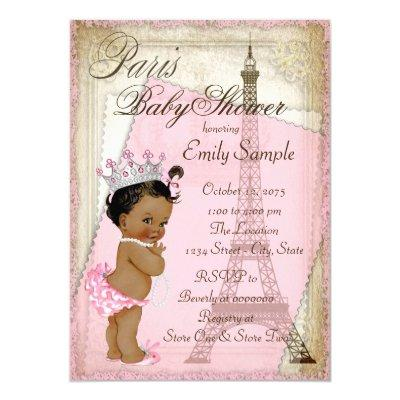 Ethnic Vintage Paris Baby Shower Invitations