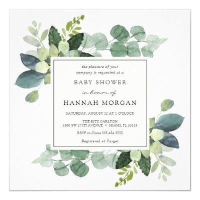 Eucalyptus Baby Shower Invitation