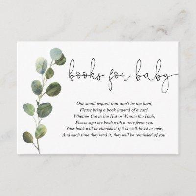 Eucalyptus black white baby shower book request enclosure card