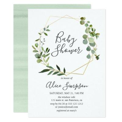 Eucalyptus Geometric Baby Shower Invitations