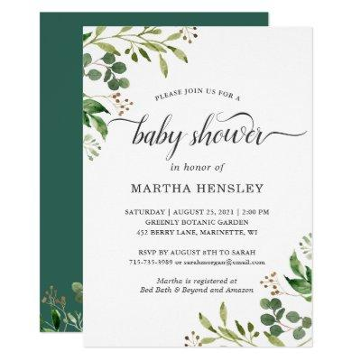 Eucalyptus Green Leaves Nature Look Baby Shower Invitation