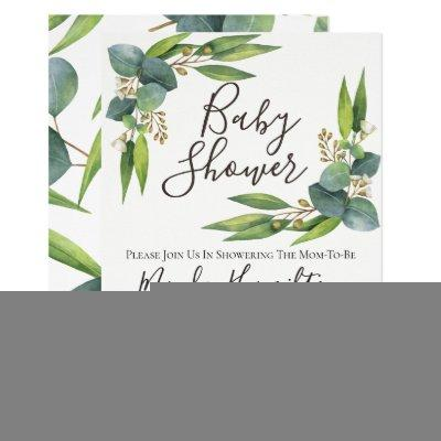 Eucalyptus Greenery Baby Shower Invitations
