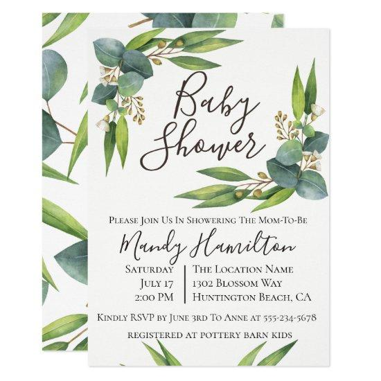 Eucalyptus Greenery Baby Shower Invitation