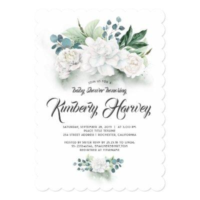 Eucalyptus Greenery White Floral Cute Baby Shower Invitations