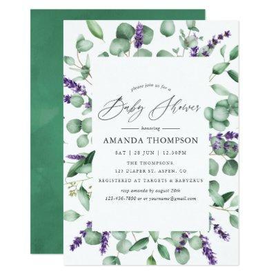Eucalyptus Lavender Greenery Baby Shower Invitations