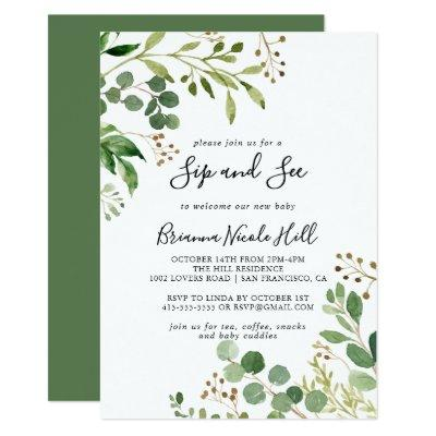 Eucalyptus Simple Brown Floral Sip and See Invitation