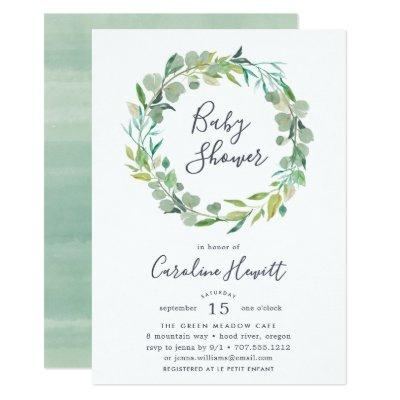Eucalyptus Wreath Baby Shower Invitation