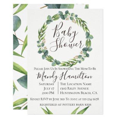 Eucalyptus Wreath Baby Shower Invitation