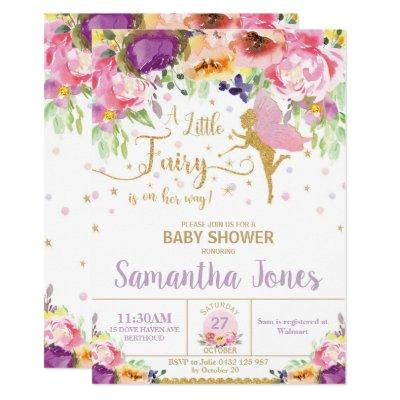 Fairy Baby Shower Invitation Floral Baby Shower
