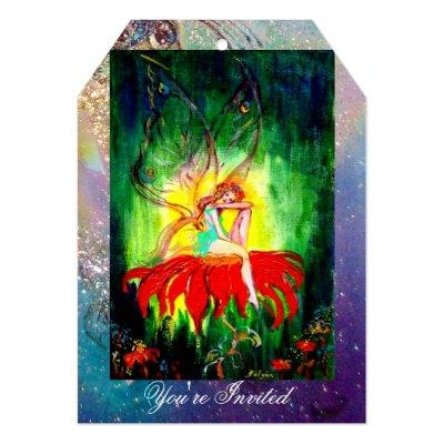 FAIRY DREAMING ON A RED FLOWER blue yellow,green Invitations