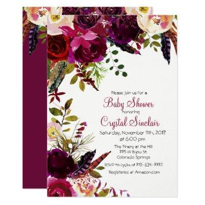 Fall Autumn Floral Baby Shower Invitations