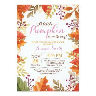Fall Autumn Girl Baby Shower Invitation