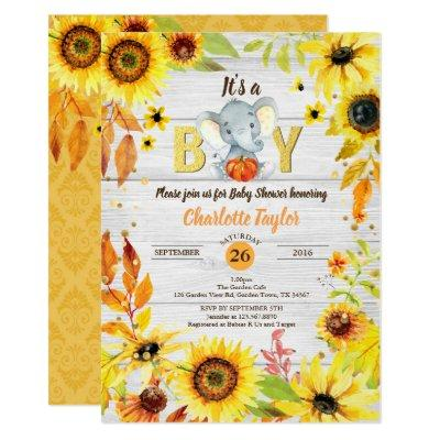 Fall baby boy shower Invitations sunflower elephant