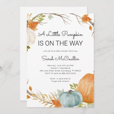 Fall Baby Shower A Little Pumpkin Is On The Way Invitation