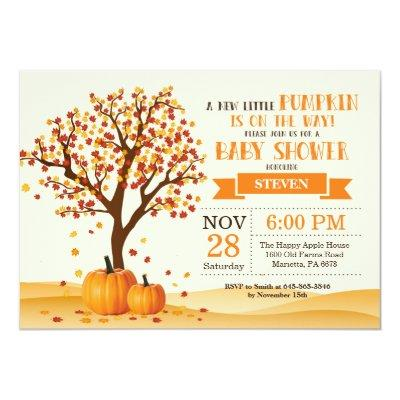 Fall Baby Shower Invitation Card Trees and Leaves