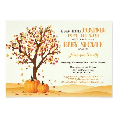 Fall Baby Shower Invitations Card Trees and Leaves