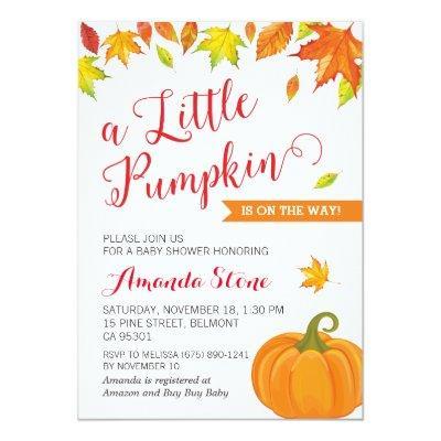 Fall , Little Pumpkin Autumn Invitations