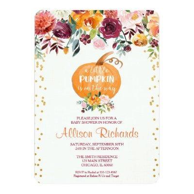 Fall baby shower invitation, pumpkin baby shower invitation