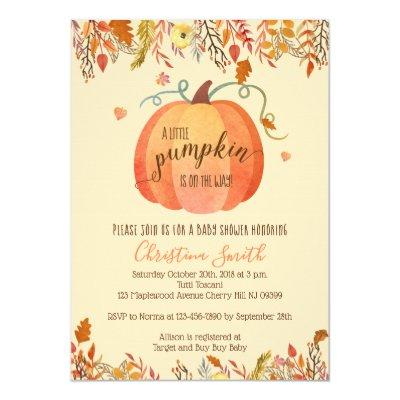 Fall Baby Shower Invitations - A Little Pumpkin