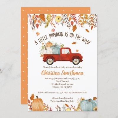Fall Baby Shower Invitations for a Boy