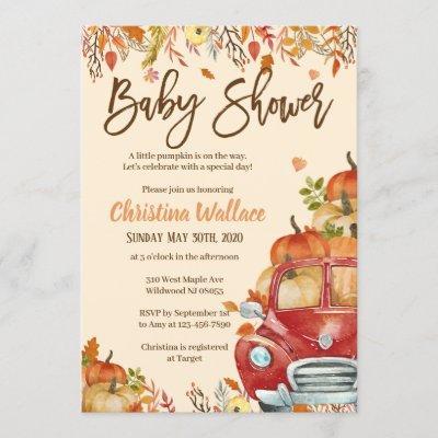 Fall Baby Shower Invitations Little Pumpkin