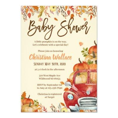 Fall Baby Shower Invitations Little Pumpkin