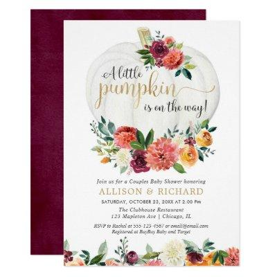 Fall couples baby shower gender neutral pumpkin invitation