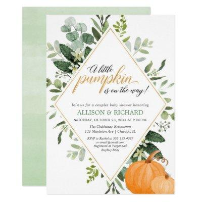 Fall couples baby shower, gender neutral pumpkin invitation