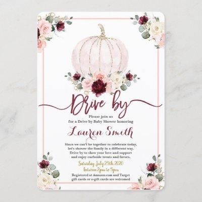 Fall Drive by Baby Shower girl burgundy and pink Invitation
