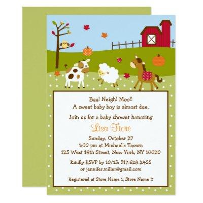 Fall Farm Animal Pumpkin Baby Shower Invitation