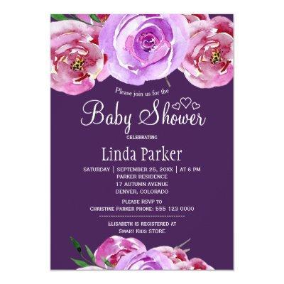 Fall floral blush pink violet plum Invitations